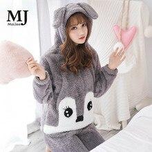 MJ027A Pink Pyama Woman Pajamas Flannel Pijamas Mujer Pigiama Donna Cute Pyjamas Women Pajama Set Pijama Feminino