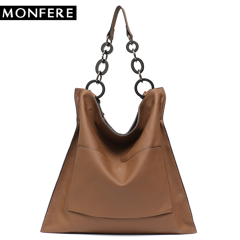 MONFERE Brand Luxury 100% Genuine Leather Handbags For Women Fashion Pocket Large Capacity Big Chain Shoulder Bags Tote Hobos A4