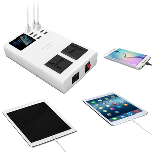 Image 5 - Ingmaya multi porta usb carregador led display digital 2 ac tomada estação de carregamento para iphone ipad samsung huawei mi adaptador