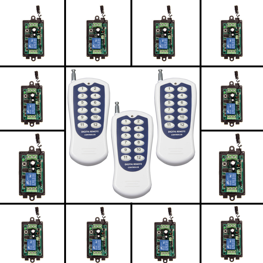 цена на DC 9V 12V 24V 1 CH 1CH RF Wireless Remote Control Switch System,12CH Transmitter +Reciever,315 / 433 MHz