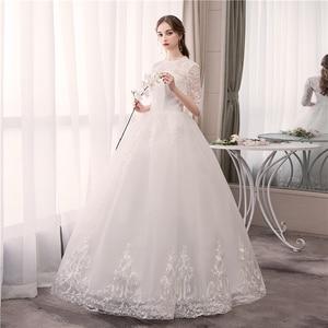 Image 4 - Real photo Luxury Lace Embroidery 2020 Wedding Dress Muslin Half Sleeve Sweet Elegant Plus Size Bride Gowns Vestido De Noiva