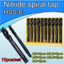 M2 = 2 Pcs M2.5 = 2 Pcs M3 = 2 Pcs M3.5 = 2 Pcs M4 = 2 Stuks 10 Stks/set HSS E Nitride Spiraal Kranen Machine Tap Blind Gat Met Gratis Verzending