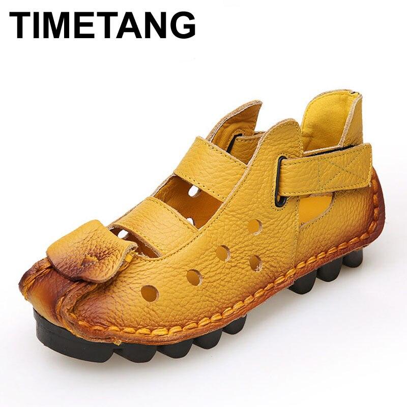 3171063b5 TIMETANG لينة حقيقية جلد الخنزير أسفل حذاء مسطح أحذية من الجلد شخصية خمر  اليدوية الصلبة عارضة النساء أحذية