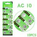 Frete grátis Barato Celular Baterias 1.55 V 10 pcs LR1130 189 389 LR54 LR1130 AG10 KA54 GP89A Coin Botão Celular bateria 56