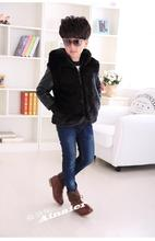 Boys and girls high quality PU leather jacket 2016 new autumn and winter clothes children kids boys fashion fur coat jacket