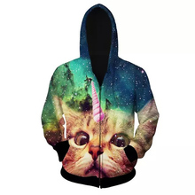 2017 New Men Women 3d Zipper Hoodies Sweatshirts Cat Monkey Wolf Lion Leopard Funny print Hoodie Autumn Winter Casual Tops Hoody