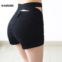 YAGENZ2017 Fashion 4 Buttons Elastic High Waist Shorts Women Denim Shorts belt Women  Plus Size Blue White black Jeans Short A88
