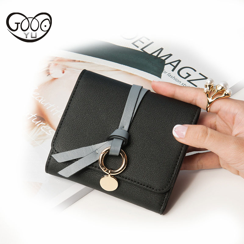 Korean version of the solid color multi-card bit belt decorated leather short paragraph multi-color wallet ladies apply for purs