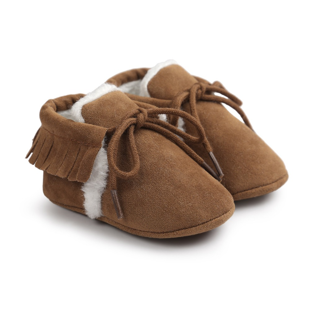 ROMIRUS Fashion Winter Keep Warm PU Suede Solid fur Newborn Baby First Walkers Shoes Boots Infant Moccasins Soft Moccs Shoe