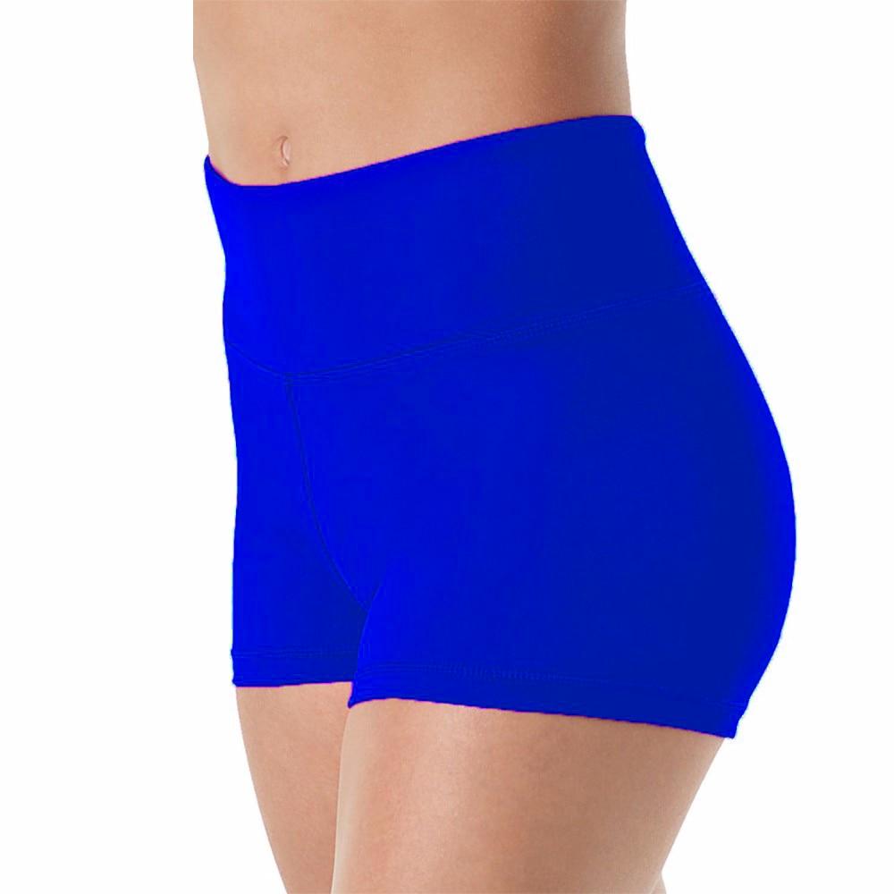 OVIGILY Women High Waisted Lycra Spandex Dance Shorts Girls Royal Blue Work Out Gymnastics Dancing Shorts Laddies Fitness Shorts