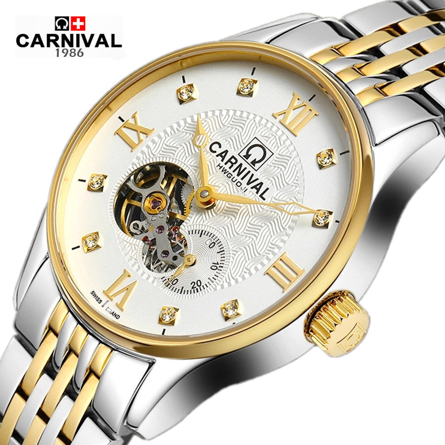 Carnival military automatic tourbillon hot mechanical brand men's watches full steel leather strap waterproof luxury watch male new carnival moon phase hot automatic mechanical brand watches men s military waterproof luxury full steel watch leather strap