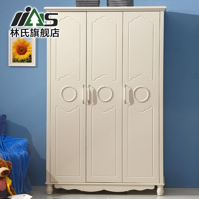 Korean Garden Furniture Simple White Three Small Closet Sliding Door Wardrobe Flat Wooden 818 Children