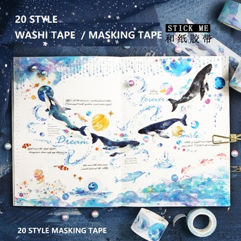 20 Washi Tape Ocean/Whale/Stars/SKY/Coral/MoonGirl Japanese Decorative Adhesive DIY Masking Paper Washi Tape Stickers Label Gift image