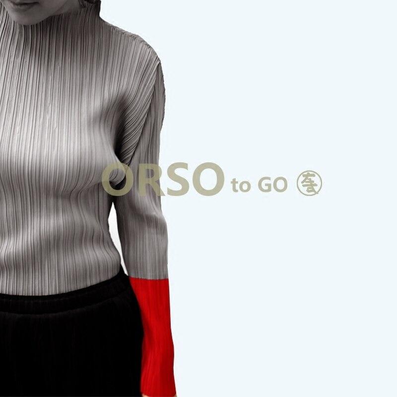 Azterumi plis spéciaux femmes col montant pleine longueur T Shirt printemps 2019 femmes fond dessus de chemise noir bleu gris jaune-in T-shirts from Mode Femme et Accessoires    1