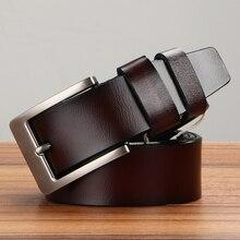 Men 120cm Genuine Leather Belt Large Size Cowhide Belts Mens Long Needle Metal Buckle Strap belts for men
