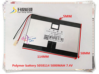 7 4V 5000mAH 5058114 Polymer Lithium Ion Li Ion Battery For Tablet Pc DVD GPS Power