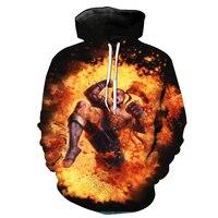 2018 New Fashion Cool Sweatshirt Hoodies Men Women 3D Print Blind Tank Warrior Fire Loose Hot