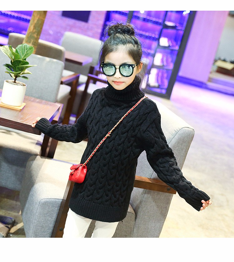 2017 new high neck long knitting girls sweater spring autumn winter turtleneck knitted children sweaters kids girls thick red black beige pink tops 7 8 9 10 11 12 13 14 15 years little big teenage girls sweater winter casual children (11)