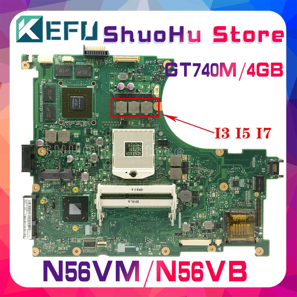 KEFU Laptop Motherboard N56VZ Mainboard for ASUS N56vz/N56v/N56vv/.. 4GB/VIDEO Tested