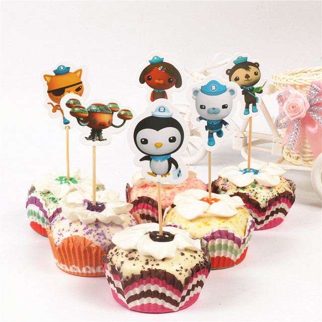24pcs Pck Cartoon Animals Kids Birthday Cake Topper Octonauts Theme Toothpick Paper Bar