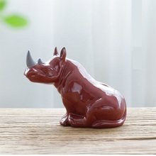 Porcellana Rinoceronte In Miniatura di Ceramica Fatti A Mano Rhino Figurine Selvatico Africano Animale Del Mestiere Ornamento Complementi Arredo Casa Collezione Darte