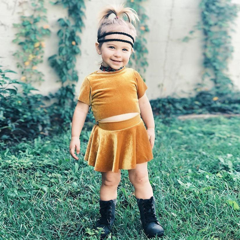 Toddler Baby Girl fashion Clothing Sets Solid Velour Short Sleeve Tops t-shirt + Skirt Dress kids Outfits Princess Clothes Set 2pcs toddler kids baby boy clothes sets t shirt tops short sleeve pants harem outfits set cotton clothing baby boys 1 6t