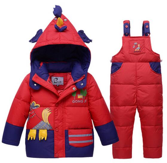 2017 Children Baby Boys Girls Winter Down Infants And Young Kids Warm Jackets Dinosaure Toddler Snowsuit Outerwear Coat+Pant Set 2 pcs children set baby boys girls clothing sets winter hooded down jackets trousers waterproof thick warm kids outerwear xl242