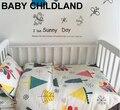 Cute baby bedding set 3 pçs/set bedding folha + fronha + capa de edredon 100% algodão macio impresso dos desenhos animados do quarto do bebê crib bedding set