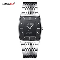 LONGBO Simple Square Dial Lovers Quartz Watch Casual Fashion Steel Strap Watches Men Women Couple Watch
