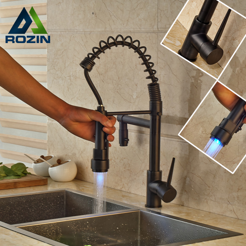 Oil Rubbed Bronze Newly Bathroom Kitchen Sink Faucet LED Color Changing Dual Spout Kitchen Mixer Taps allen roth brinkley handsome oil rubbed bronze metal toothbrush holder