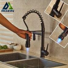 Oil Rubbed Bronze Newly Bathroom Kitchen Sink Faucet LED Color Changing Dual Spout Kitchen Mixer Taps