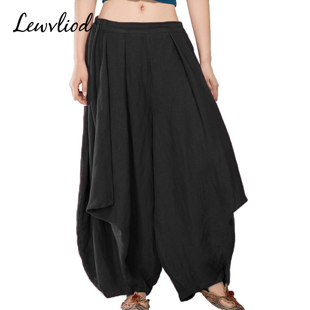Solid Cotton Linen   Pants   Plus Size   Wide     Leg     Pants   Elastic Waist Vintage Female Bottom Loose Summer Breathable Women's Trousers