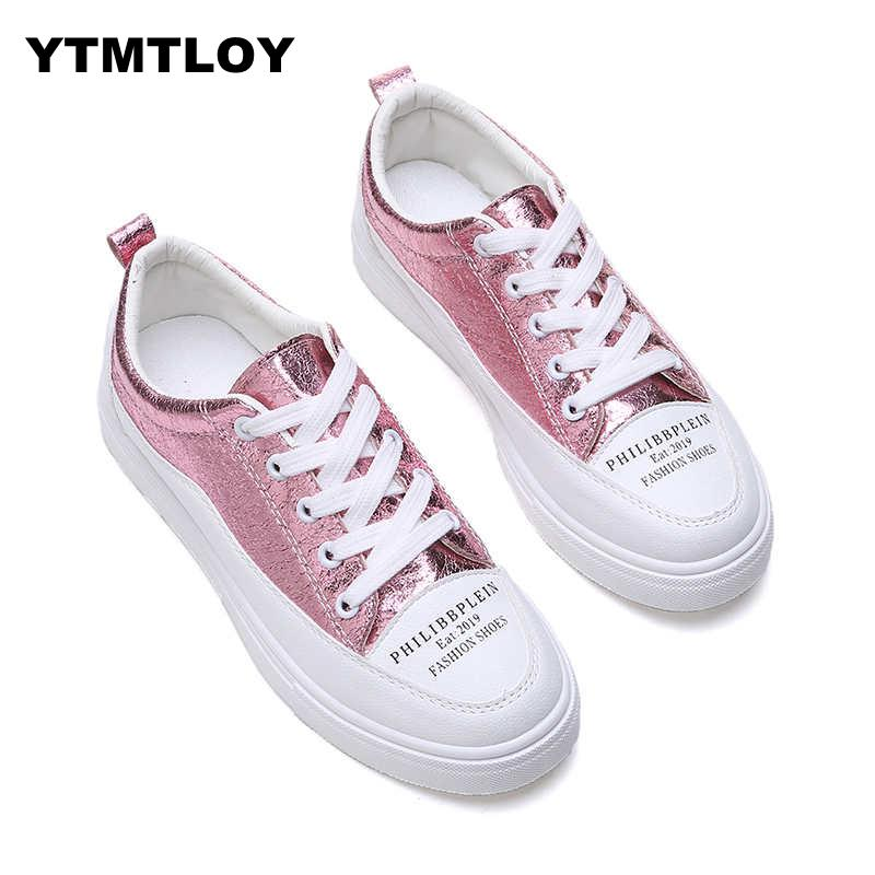 Women Sneakers Fashion Breathble Vulcanized Shoes Pu leather Platform Lace up Casual White  Trainers  Sexemara  Tenis 2019Women Sneakers Fashion Breathble Vulcanized Shoes Pu leather Platform Lace up Casual White  Trainers  Sexemara  Tenis 2019