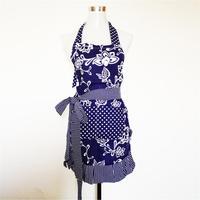 Fashion Flower Pattern Stripe Falbala Halter Neck Style Sleeveless Women S Kitchen Cooking Apron With Pocket
