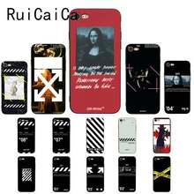 Ruicaica New Twill Off Ow Stripes Mona Lisa art VOGUE fashion Phone Case for iPhone 5 5Sx 6 7 7plus 8 8Plus X XS MAX XR 10 Case(China)