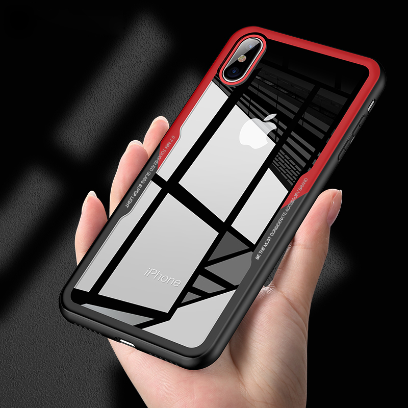 Shockproof Tempered Glass Phone Case For iPhone 7 8 6 6S Plus Cover Hybrid Anti-knock Protective Armor Case For iPhone X 7 Coque