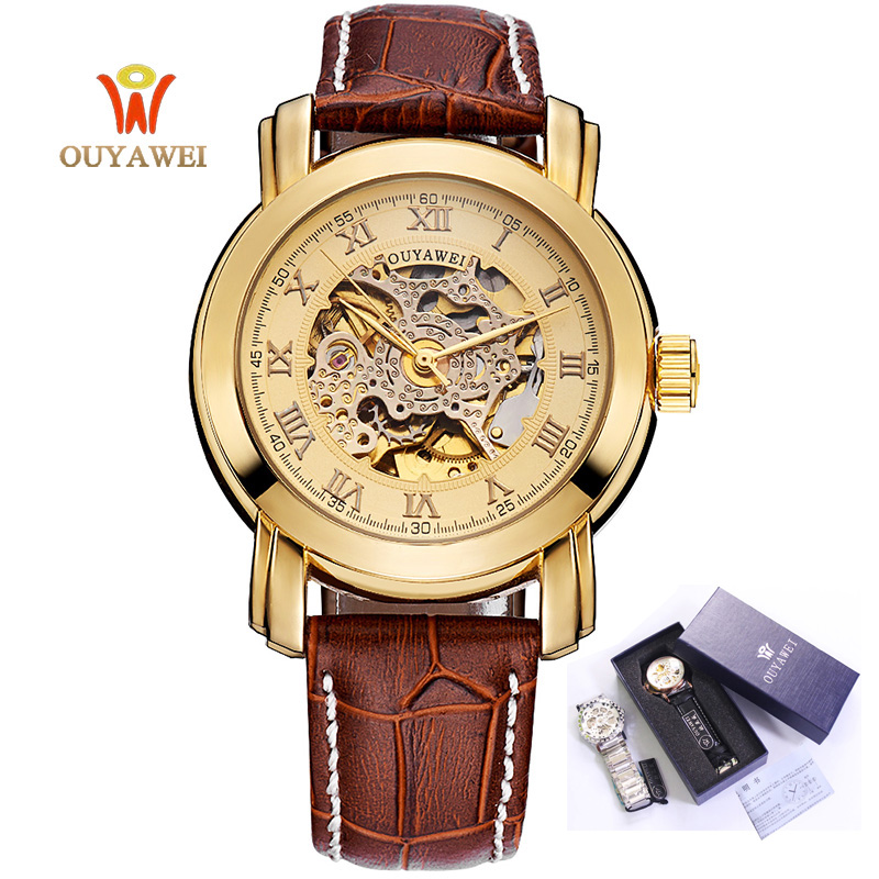 OUYAWEI New Men Luxury Brand Watch Roman Number Leather Watchband Automatic Mechanical Wristwatches Gift Box Relogio Releges winner women luxury brand stones skeleton leather band ladies watch mechanical hand wind wristwatches gift box relogio releges