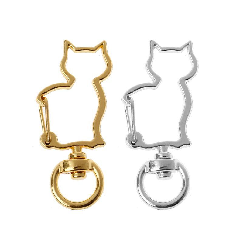 10Pcs Cat Metal Swivel Clasps Lobster Snap Clasp Hook Keychain Jewelry Making