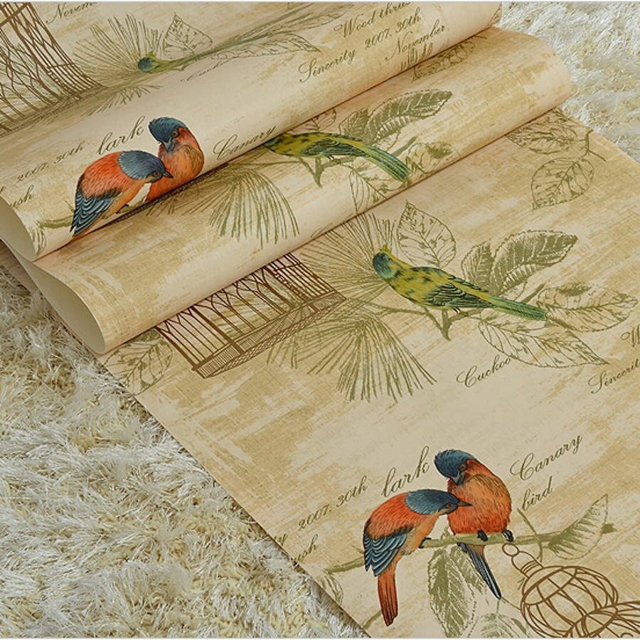 beibehang Flower Wallpaper roll Non Woven Wall paper 3D Paper Contact for Living Room Birds Wall Paper Roll Home Decoration beibehang embossed american pastoral flowers wallpaper roll floral non woven wall paper wallpaper for walls 3 d living room