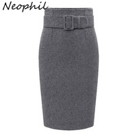 Neophil 2016 Winter Gray Thick Wool Midi Pencil Skirts Plus Size Women Casual Slim High Waist