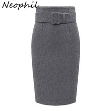 Neophil 2016 Winter Gray Thick Wool Midi Pencil Skirts Plus Size Women Casual Slim High Waist Belt Office Work Wear Saias S1205