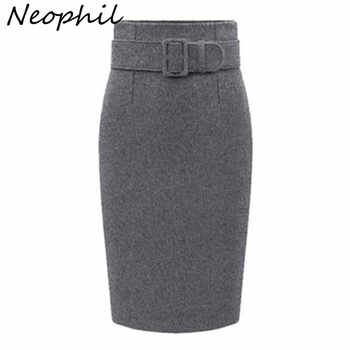 Neophil 2019 winter Gray Thick Wool Midi Pencil Skirts Plus Size Women Casual Slim High Waist Belt Office Work Wear Saias S1205 - DISCOUNT ITEM  30% OFF All Category