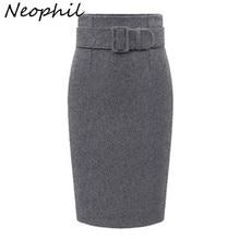 Neophil 2020 Winter Grijs Dikke Wol Midi Potlood Rokken Plus Size Vrouwen Toevallige Slanke Hoge Taille Riem Kantoor Werkkleding saias S1205