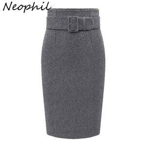 Image 1 - Neophil 2020 kış gri kalın yün Midi kalem etekler artı boyutu kadınlar Casual ince yüksek bel kemeri ofis iş elbisesi Saias S1205