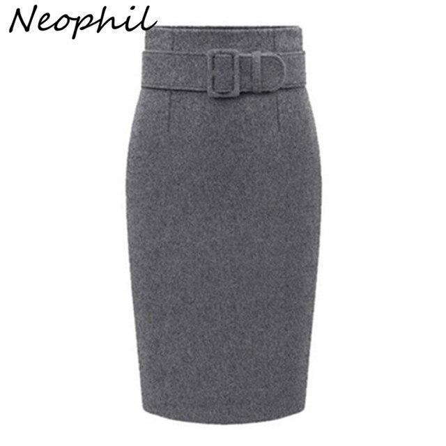Neophil 2020 kış gri kalın yün Midi kalem etekler artı boyutu kadınlar Casual ince yüksek bel kemeri ofis iş elbisesi Saias S1205