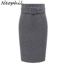 Neophil 2020 zima szary gruby wełny Midi spódnice ołówkowe Plus Size kobiety dorywczo szczupła wysokiej talii pas odzież do pracy biurowej Saias S1205