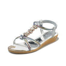 Rhinestone Sandals Women Sandals 2019 Fashion Flower Summer Shoes Women Rome Gladiator Casual flats Sandals Beach Shoes Female 2018 new women casual summer beach sandals flats fashion shoes casual rome style sandals bohemian women sandals for lady shoes