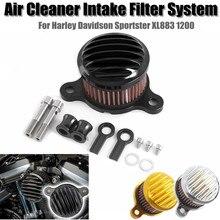LJBKOALL New Motorcycle Air Cleaner Intake Filter System for 2004-2018 Harley Sportster XL 883 XL1200 Black Chrome Gold Colors цены