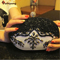 New Women's Black PU Leather Evening Bag Tote Exquisite Hand-beaded Pearl Diamond Clutch Wedding Party Handbag Shoulder Bag