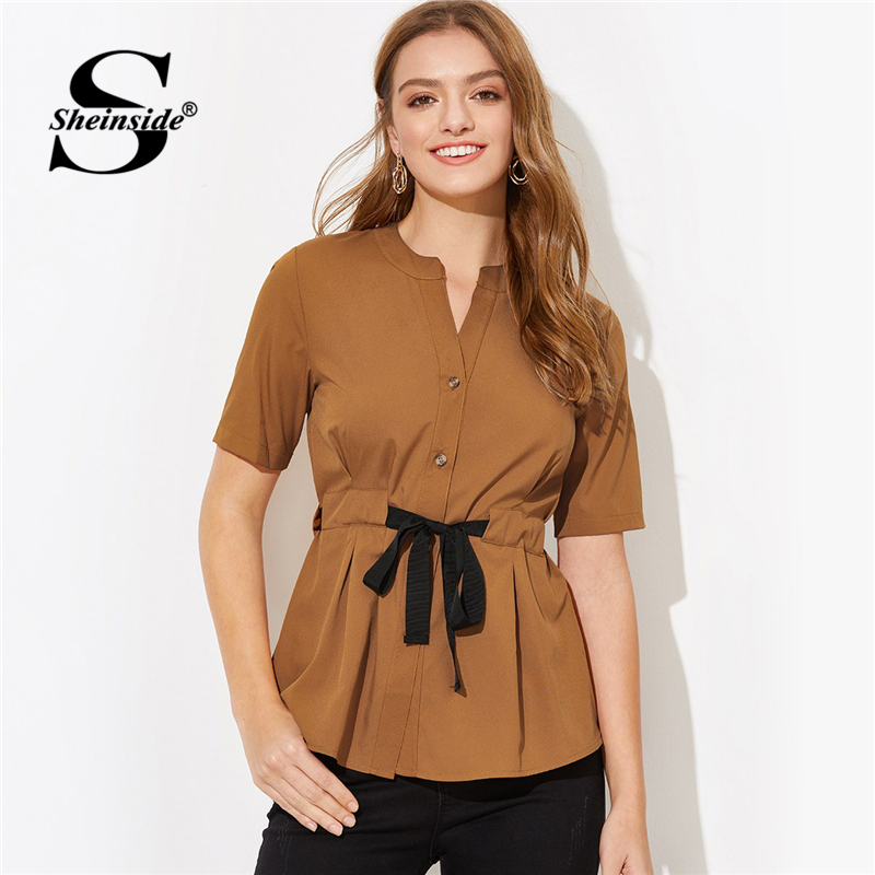 Sheinside Brown Drawstring Waist Knotted   Blouse     Shirt   Womens Summer   Blouses   2019 V Neck Ladies Tops Short Sleeve Women   Shirts